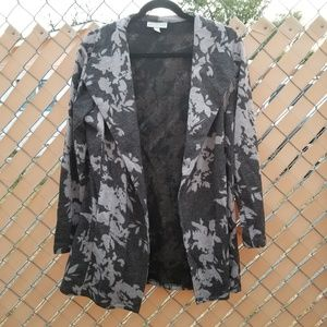 Dana Buchman soft black/lavender cardigan coat